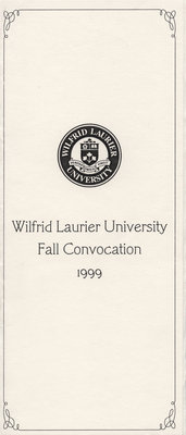 Wilfrid Laurier University 1999 fall convocation invitation