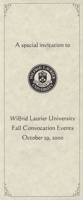 Wilfrid Laurier University 2000 fall convocation invitation