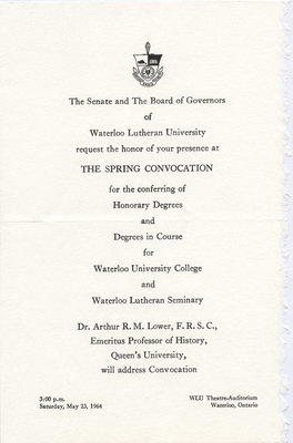 Waterloo Lutheran University 1964 spring convocation ceremony and baccalaureate service invitation