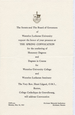 Waterloo Lutheran University 1965 spring convocation ceremony and baccalaureate service invitation