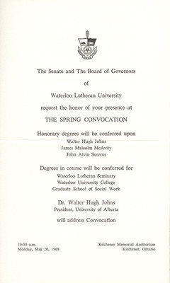 Waterloo Lutheran University spring convocation and baccalaureate service invitation,1968