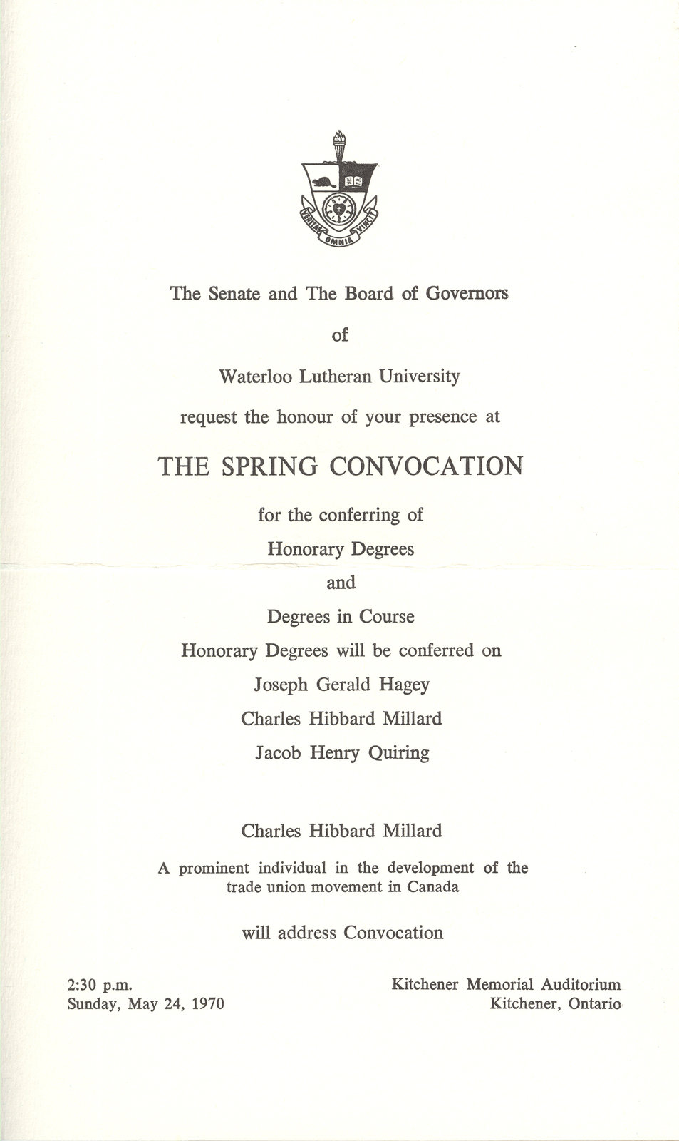 Waterloo Lutheran University spring convocation and baccalaureate service invitation, 1970