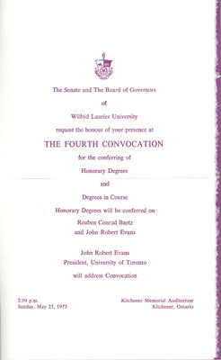 Wilfrid Laurier University spring convocation and baccalaureate service invitation, 1975
