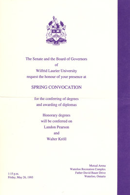 Wilfrid Laurier University spring convocation and baccalaureate service invitation, May 26, 1995