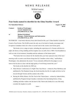 58-2003 : Four books named to shortlist for the Edna Staebler Award