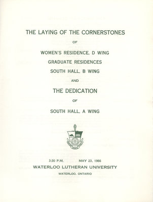 The laying of the cornerstones of Women's Residence D Wing, Graduate Residence and South Hall B Wing and the dedication of the South Hall A Wing, 1966