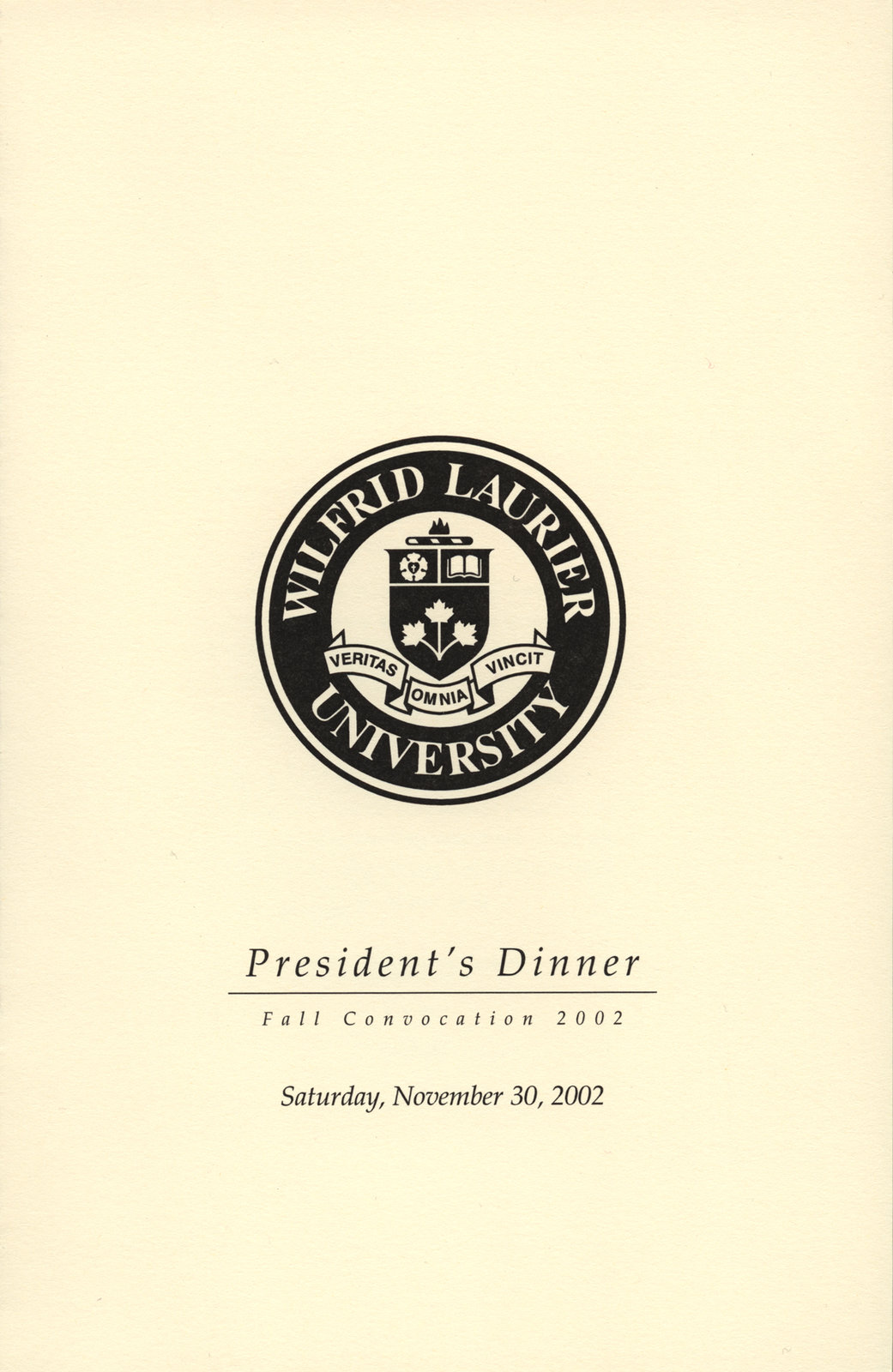 Wilfrid Laurier University fall convocation President's Dinner program, 2002