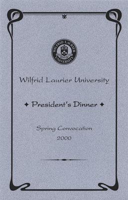 President's Dinner program, Wilfrid Laurier University spring convocation 2000