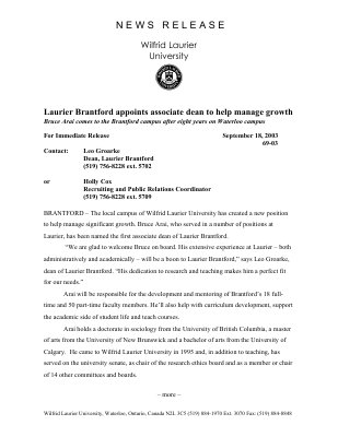 69-2003 : Laurier Brantford appoints associate dean to help manage growth