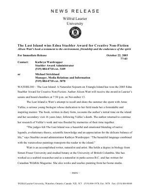 77-2003 : The Last Island wins Edna Staebler Award for Creative Non-Fiction