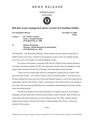 90-2003 : Bob Rae to give inaugural Laurier Lecture in Canadian Studies