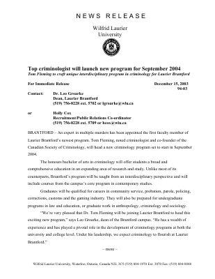 94-2003 : Top criminologist will launch new program for September 2004