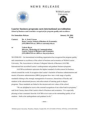 07-2004 : Laurier business programs earn international accreditation