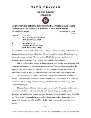 63-2004 : Laurier invites public to tour historic St. Jerome's high school