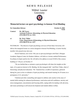 74-2004 : Memorial lecture on sport psychology to honour Fred Binding