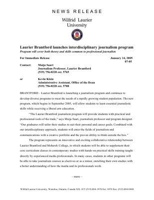 07-2005 : Laurier Brantford launches interdisciplinary journalism program