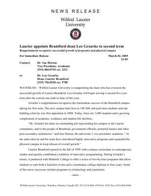 22-2005 : Laurier appoints Brantford dean Leo Groarke to second term