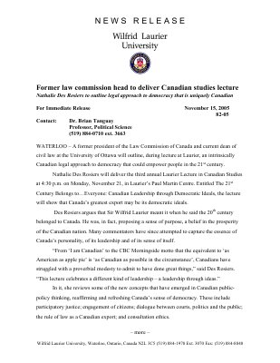 82-2005 : Former law commission head to deliver Canadian studies lecture