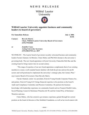 46-2006 : Wilfrid Laurier University appoints business and community leaders to board of governors