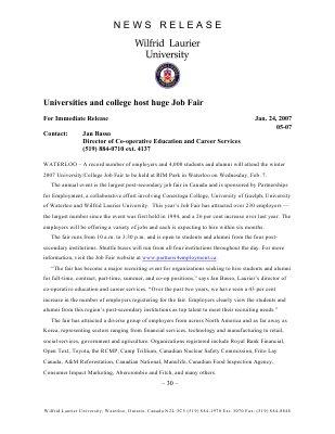05-2007 : Universities and college host huge job fair