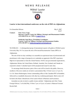 26-2007 : Laurier to host international conference on the role of PRTs in Afghanistan