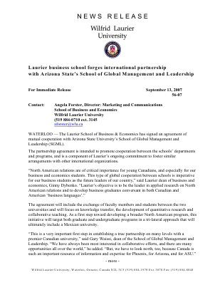 56-2007 : Laurier business school forges international partnership with Arizona's State's School of Global Management and Leadership