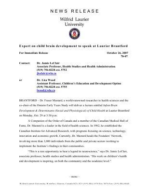 78-2007 : Expert on child brain development to speak at Laurier Brantford