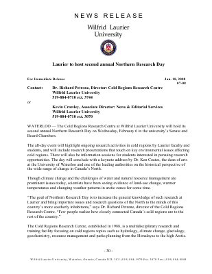07-2008 : Laurier to host second annual Northern Research Day