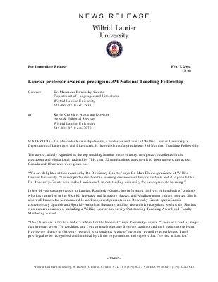 13-2008 : Laurier professor awarded prestigious 3M National Teaching Fellowship