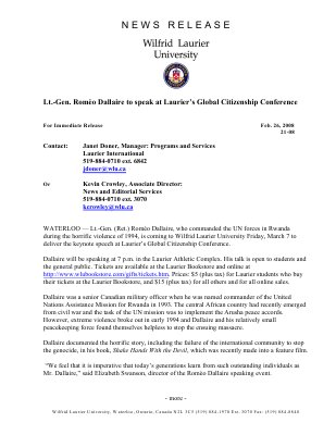 21-2008 : Lt.-Gen. Romeo Dallaire to speak at Laurier's Global Citizenship Conference