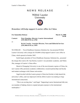 26-2008 : Donation will help support Laurier office in China