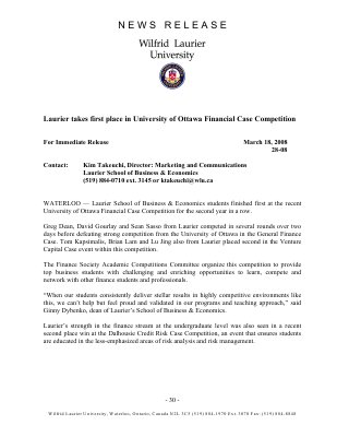28-2008 : Laurier takes first place in University of Ottawa Financial Case Competition
