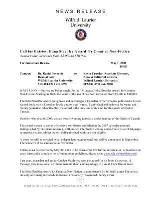 45-2008 : Call for Entries: Edna Staebler Award for Creative Non-Fiction
