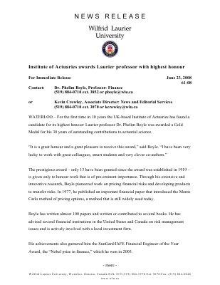 61-2008 : Institute of Actuaries awards Laurier professor with highest honour
