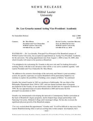 64-2008 : Dr. Leo Groarke named Acting Vice-President: Academic