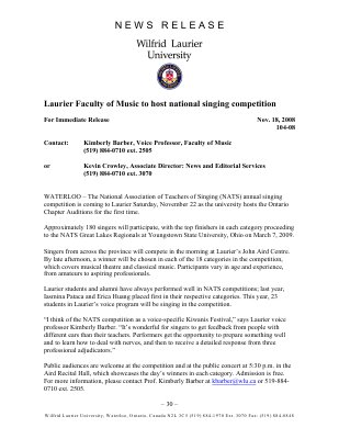 104-2008 : Laurier Faculty of Music to host national singing competition