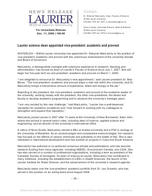 108-2008 : Laurier science dean appointed vice-president: academic and provost