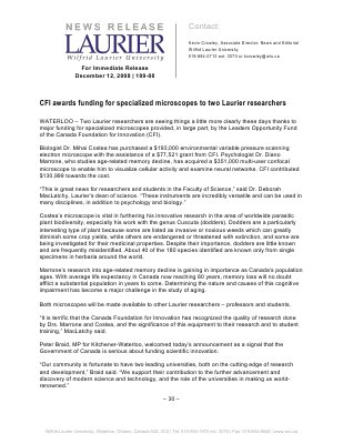 109-2008 : CFI awards funding for specialized microscopes to two Laurier researchers