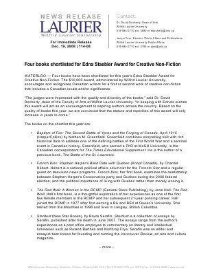 114-2008 : Four books shortlisted for Edna Staebler Award for Creative Non-Fiction