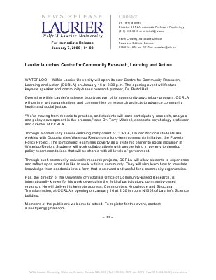 01-2009 : Laurier launches Centre for Community Research, Learning and Action
