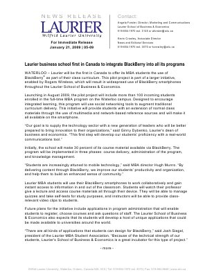 05-2009 : Laurier business school first in Canada to integrate Blackberry into all its programs