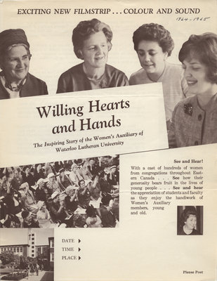 Willing hearts and hands : the inspiring story of the Women's Auxiliary of Waterloo Lutheran University