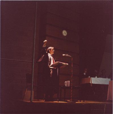 John Stark performing at the 1981 Boar's Head Dinner, Wilfrid Laurier University