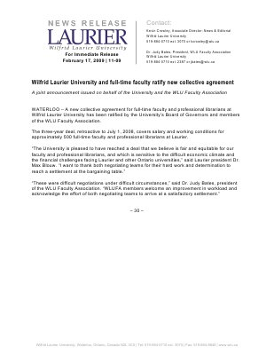 11-2009 : Wilfrid Laurier University and full-time faculty ratify new collective agreement