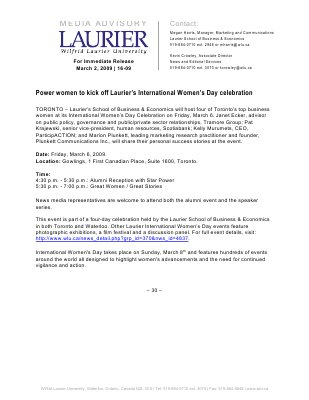 16-2009 : Power women to kick off Laurier's International Women's Day celebration