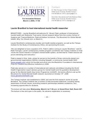 17-2009 : Laurier Brantford to host international mental health researcher