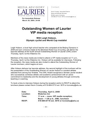 34-2009 : Outstanding Women of Laurier VIP media reception