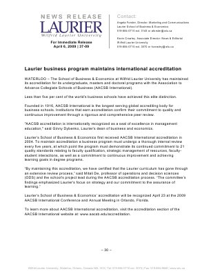 37-2009 : Laurier business program maintains international accreditation