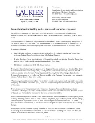 42-2009 : International central banking leaders convene at Laurier symposium