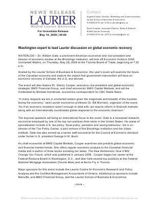49-2009 : Washington expert to lead Laurier discussion on global economic recovery